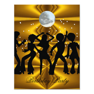 Disco Dance Birthday Party disco ball 11 Cm X 14 Cm Invitation Card