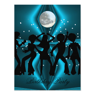 Disco Dance Blue Birthday Party 11 Cm X 14 Cm Invitation Card