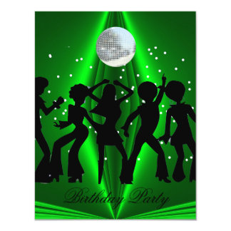 Disco Dance Green Birthday Party 11 Cm X 14 Cm Invitation Card