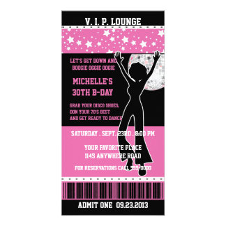Disco Dancer Silhouette Birthday Ticket Personalized Photo Card
