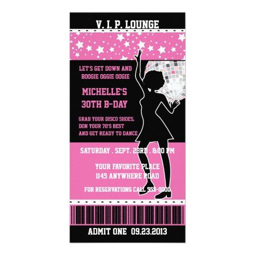 Disco Dancer Silhouette Birthday Ticket Custom Photo Card