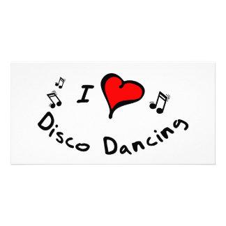 Disco Dancing I Heart-Love Photo Greeting Card