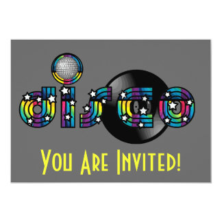 Disco Dancing Mirrored Ball and Vinyl Record 13 Cm X 18 Cm Invitation Card