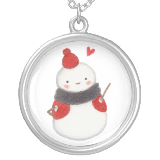Disco Dancing Snowbaby Silver Plated Necklace