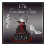 Disco Diva Cake, Silver Heels 17th Birthday 13 Cm X 13 Cm Square Invitation Card
