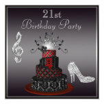 Disco Diva Cake, Silver Heels 21st Birthday 13 Cm X 13 Cm Square Invitation Card
