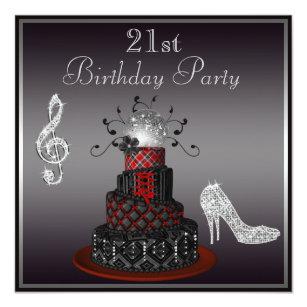 Diva birthday cards invitations zazzle disco diva cake silver heels 21st birthday card bookmarktalkfo Images