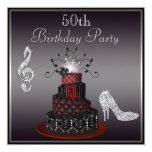 Disco Diva Cake, Silver Heels 50th Birthday 13 Cm X 13 Cm Square Invitation Card