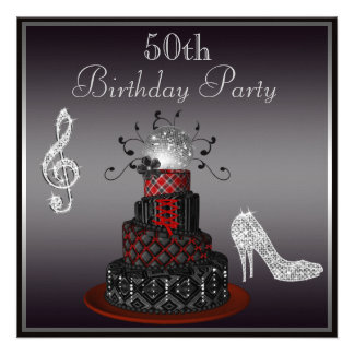 Disco Diva Cake Silver Heels 50th Birthday Invites