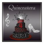 Disco Diva Cake, Silver Sparkle Heels Quinceanera 13 Cm X 13 Cm Square Invitation Card
