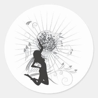 disco diva vector classic round sticker