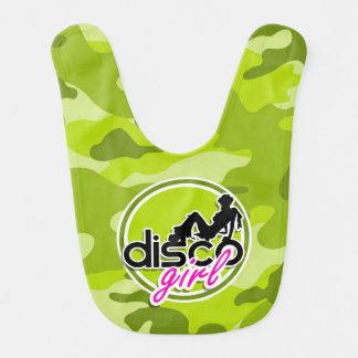 Disco girl; bright green camo, camouflage bib