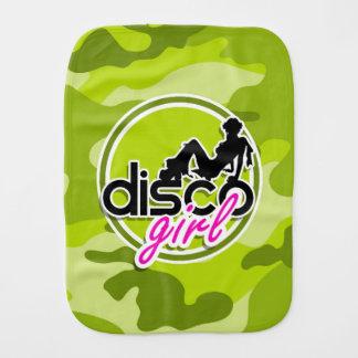 Disco girl; bright green camo, camouflage burp cloth