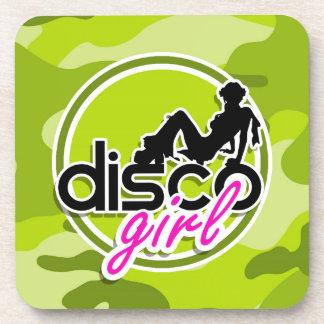 Disco girl bright green camo camouflage drink coaster