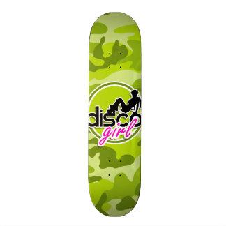 Disco girl; bright green camo, camouflage skateboard decks