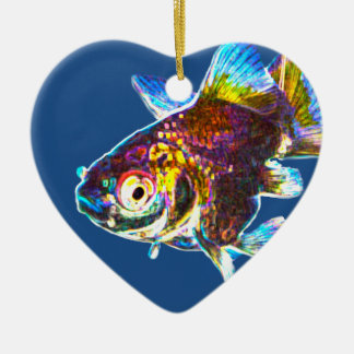 Disco Goldfish Ceramic Heart Decoration