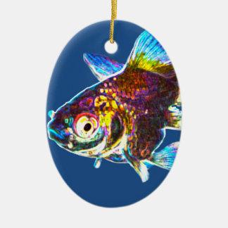 Disco Goldfish Ceramic Oval Decoration