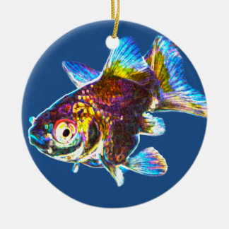 Disco Goldfish Round Ceramic Decoration