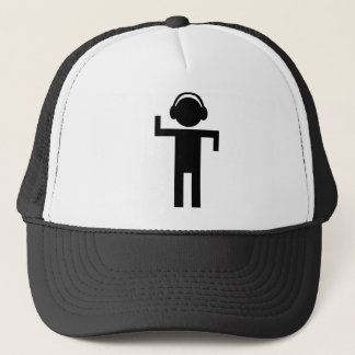 disco head phone type icon trucker hat