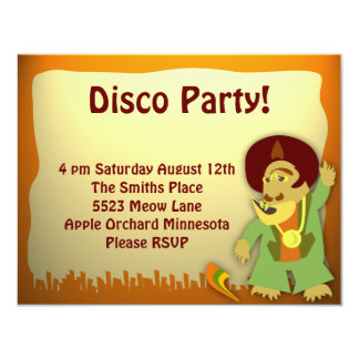 Disco Monster Groove Party 11 Cm X 14 Cm Invitation Card