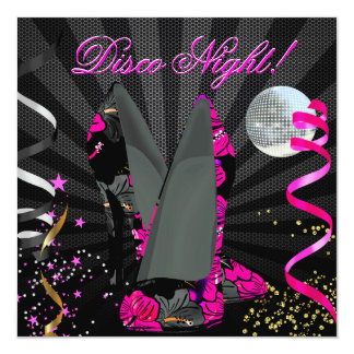 Disco Night Pink Gold Black Floral High Heels Personalized Invite