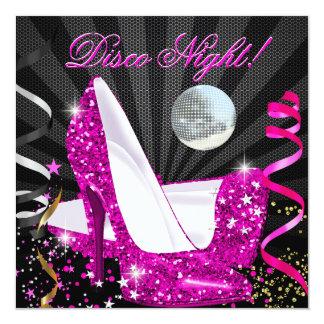 Disco Night Pink Gold Black Glitter High Heels Announcement