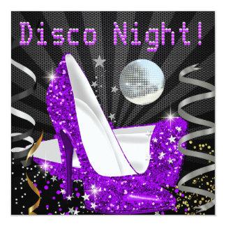 Disco Night Purple Gold Black Glitter High Heels Personalized Invitation