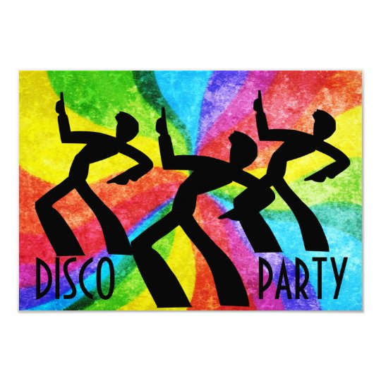Disco Party - Dancing People and Rainbow Swirls