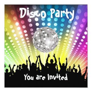 "Disco Party invitation Any Celebration 5.25"" Square Invitation Card"