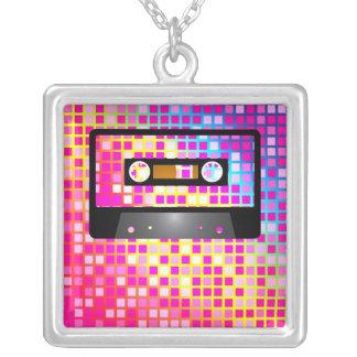 Disco Party Square Pendant Necklace