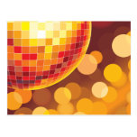Disco Party Time Golden Lights Postcard