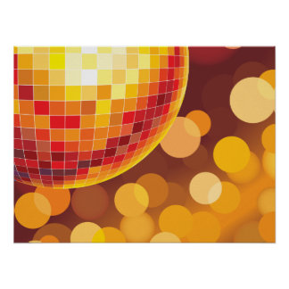 Disco Party Time Golden Lights Poster