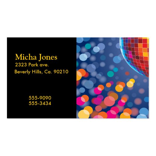 Disco Party Time Rainbow Lights Business Card