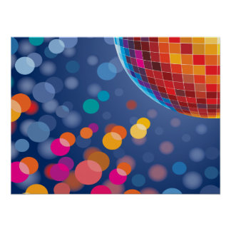 Disco Party Time Rainbow Lights Poster