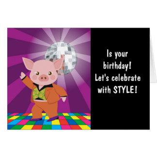 disco pig on the dance floor card