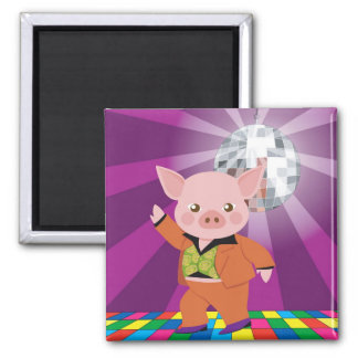 disco pig on the dance floor magnet