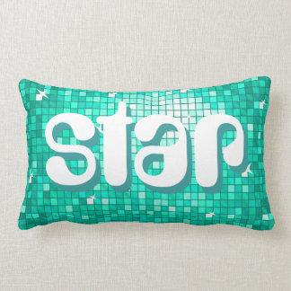 Disco Tiles Aqua 'star' pillow amelia text