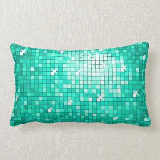 Disco Tiles Aqua throw pillow