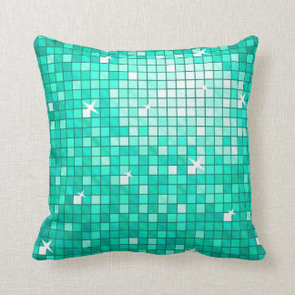 Disco Tiles Aqua throw pillow square