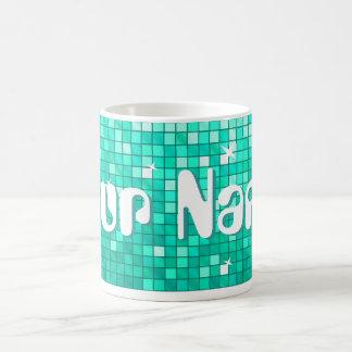 Disco Tiles Aqua 'Your Name' mug