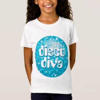 Disco Tiles Blue 'disco diva' girls fitted T-Shirt