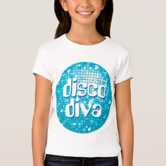 Disco Tiles Blue 'disco diva' girls fitted T Shirts
