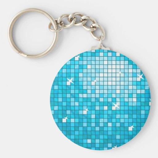 Disco Tiles Blue keychain round