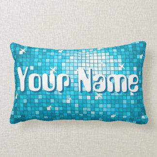 Disco Tiles Blue 'Name' throw pillow lumbar