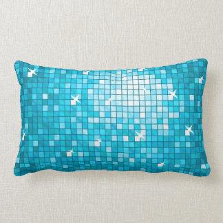 Disco Tiles Blue throw pillow