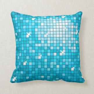 Disco Tiles Blue throw pillow square