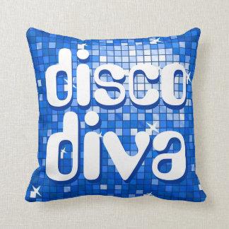 Disco Tiles Dark Blue 'disco diva' throw pillow