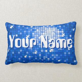 Disco Tiles Dark Blue 'Name' throw pillow lumbar
