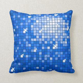 Disco Tiles Dark Blue throw pillow square