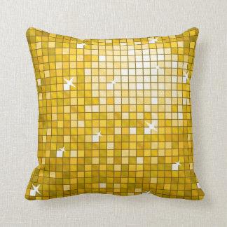 Disco Tiles Gold throw pillow square